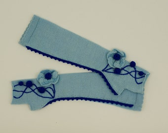 Women's Long Light Blue Knit Fingerless Gloves Knitted Arm Warmers Wrist Warmers Half Finger Gloves