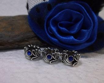 8 Tibetan Silver Sapphire Blue Rhinestone Beads