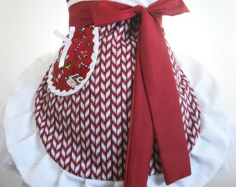 Ready to ship Candy Cane Christmas Apron with Gingerbread Pocket Accent