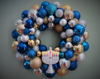 HANUKKAH Wreath Ornament Wreath with silver MENORAH blue gold and silver Hanukkah Wreath