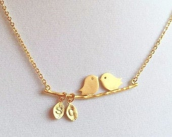 Personalized Necklace, Initial Necklace, Monogram Necklace, Bird on Branch Necklace, Mom and Baby Bird Necklace,Gold Necklace,Name Necklace