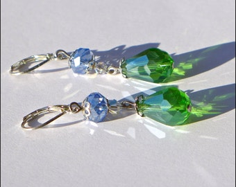 Ocean Gems Teardrop Crystal Earrings ( E752-5)