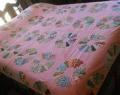 """RESERVED FOR JODI--Lovely Vintage Dresdan Plate Quilt-Bright PInk--Hand Appliqued Plates-70"""" x 86"""""""