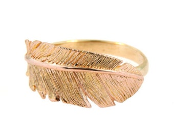14k Rose Gold Feather Ring with a 14k Yellow Gold Band