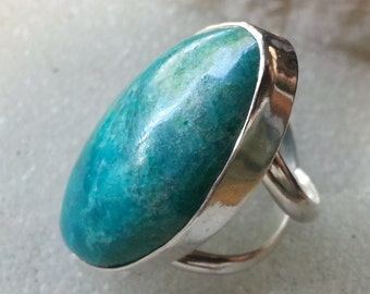Chrysocolla Ring Size # 6 Sterling Silver