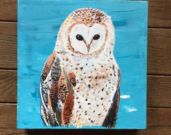 READY TO SHIP: 8x8 Barn Baby Owl Woodland Animal Forest Cabin Original Art by MyImaginationIsYours