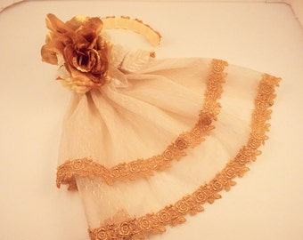 Ivory and Gold Veil Hair Accessory