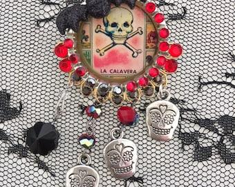 DAY of the DEAD Sugar Skulls - La CALAVERA - Skull and Cross Bones  Art PiN