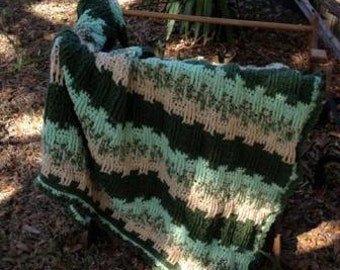 Green and Tan Front Double Crochet Stitch Afghan
