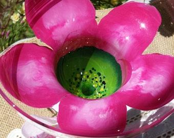 Hand painted margarita  glass, wedding margarita glass, flower margarita glass