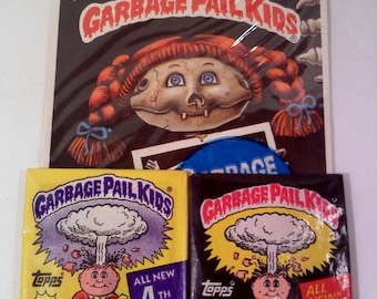 Vintage Garbage Pail Kids Gift Set- 2 Packs Trading Cards, 1 Pack Giant Stickers