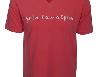 Zeta Tau Alpha - V-Neck T-shirt with script lettering NEW