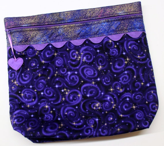 MORE2LUV Purple Metalic Gold Star Gazer Cross Stitch Embroidery Project Bag