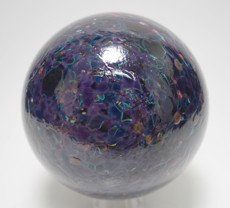 Color Glass Marble : Vintage multi color glass marble sphere hand blown purple