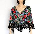 Black floral Shawl combining crochet and fabric Gypsy shawl  Russian Style Shawl