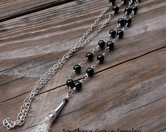 Black and silver beaded long tassel necklace