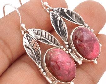 Pink Thulite Earrings, set in Solid Sterling Silver