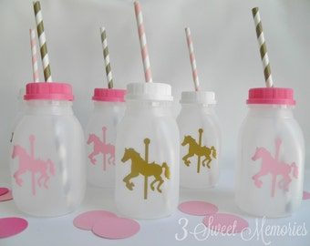 Pink and Gold Carousel Milk Bottles- Set of 20,25,30- Carnival, horse birthday, cups