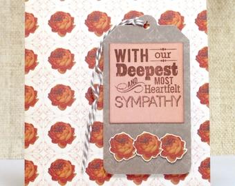 Sympathy Card, Deepest Sympathy, Tag Floral Card, Handmade Cards