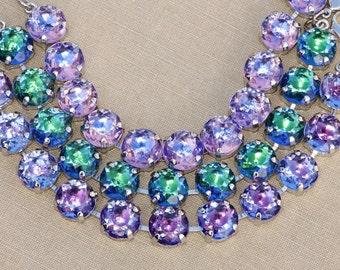 NEW RaRE Vintage Czech Givre Rhinestone Bracelet,Large Crystal Rhinestone Tennis Bracelet,Blush Rosaline,Sapphire,Amethyst,Emerald,47ss 11mm