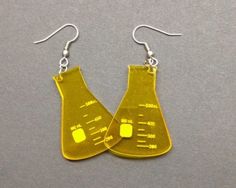 Etched Flasks Beaker Acrylic Earrings