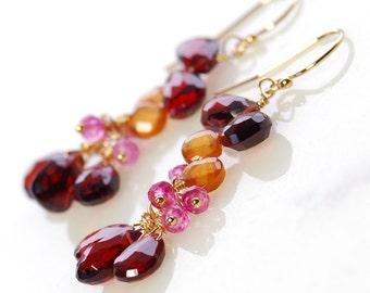 Garnet Dangle Earrings by Agusha. Red Gemstone Dangles. Gemstone Earrings