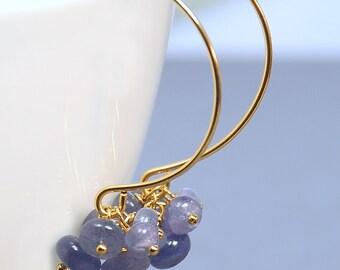 Tanzanite Cluster Earrings by Agusha. Tanzanite Dangle. Tanzanite Earrings. Blue Gemstone Gold Filled Earrings