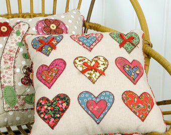 HEARTS small cushion, weddings, gifts for GIRLS ,also OWLS