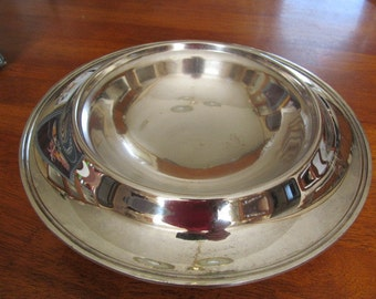 Vintage EPNS Round Electroplate Console Bowl Centerpiece with Monogram