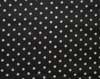 """Vintage Fabric, 1960's-70's Polyester Black & White Polka Dots 9 Yards Available 44"""" Wide"""