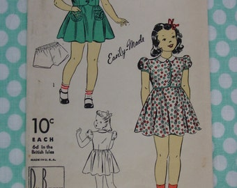 Vintage Pattern c.1940's DuBarry No.2625B Girls Dress and Panties, Sz. 6
