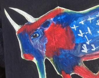 JusT Like An AmericAn  - BuffalO - Folk Art - Original Wood Painting  / Cathy DeLeRee