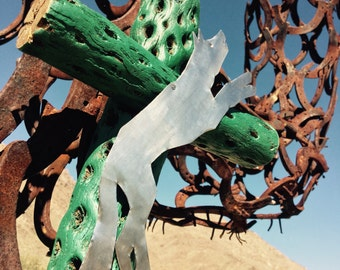 Cholla Wood - WOLF Exvoto - Cross - Sacred works of the High Desert - Turquoise Green-  MilagrO - Original Art / Cathy DeLeRee