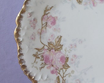 Antique 1890's LS & S Limoges plate, French China plate, Pink roses plate, Antique plate, Porcelain plate, Victorian plate, Antique china