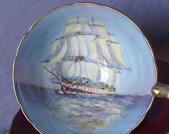 Vintage Nautical Gift, Aynsley Sailing ship tea cup, Red tea cup, Clipper ship, English tea cup, bone china teacup, sailing art cup