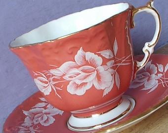 Vintage Orange teacup and saucer, Aynsley white rose tea cup, English tea cup, Bone china teacup, Mid Century tea cup, Retro birthday gift