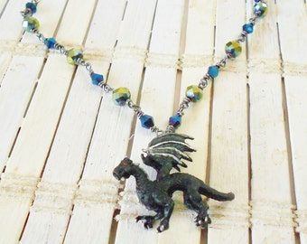 Black Dragon Necklace, Crystal beaded, Hand Painted, Unique gift idea, Gift for her, Khaleesi cosplay, Geekery, Nerd jewelry, Night shade