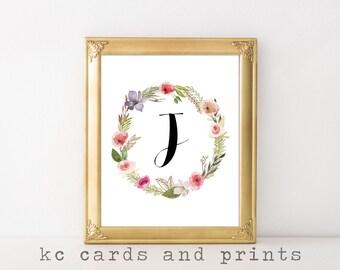 Letter J Monogram Art Print - Initial Art Printable - Letter J Wall Art