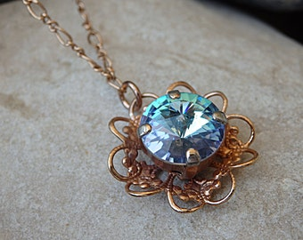 Aquamarine Swarovski Necklace, Wire Wrapped Necklace, Rhinestone & Light Blue Crystal Necklace, Flower Necklace, Rose Gold Wrap Necklace