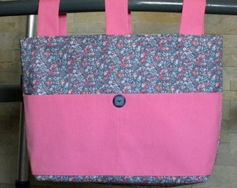 Adult Woman Walker Bag Tote Purse - Blue, Rose & White Small Floral w/Solid Rose Pockets and Straps, Blue Button