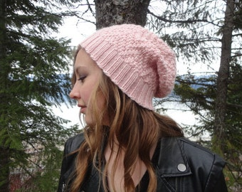 Hand Knit Handmade Zigzag Chevron Pattern Slouch Hat With a Merino Wool Silk Blend in Light Pink Accessory For Her Warm Womens Winter Hat