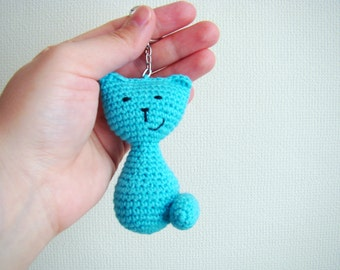 Crochet keychain amigurumi cat thank you gift ideas cat keychain keyring cool keychain housewarming gift amigurumi cat crochet cat blue