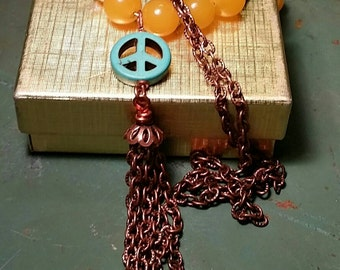 Yellow Jade, Turquoise Peace Sign, Chain Tassle Necklace by AfterWork