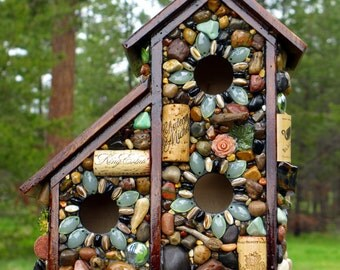 """Two for one Spring mosaic birdhouse colorful two story """"King Estate"""" wine corks wildlife nature lover bird watcher outdoor bird house"""