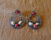 Mexican silver filagree large earrings aracada Oaxacan w/ coral beads - Frida Kahlo romanic - drop 2 1/2""