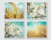 Teal and Yellow  Print Set, Aqua Teal Decor Yellow, Teal Wall Art, Yellow Tree Art, Set of 4 Prints, Dogwood Autumn Dreamy Floral Prints.