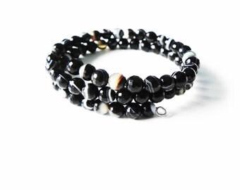 Black stripe agate memory wire gemstone wrap bracelet