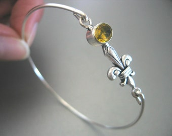 CITRINE FLEUR-De-LIS gemstone bangle bracelet