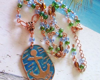 Here and Now Anchor Copper Pendant, Etched Anchor Pendant Necklace, OOAK Necklace, FREE SHIPPING, Etched Copper, Nautical