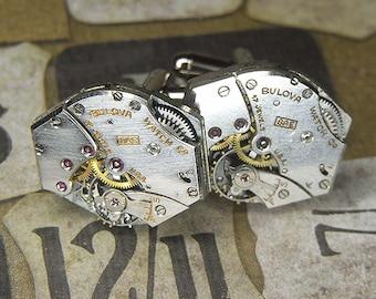 Steampunk Cufflinks Cuff Links - Torch SOLDERED - Vintage Silver BULOVA Watch Movements w Mirror Shine - Birthday Anniversary Wedding Gift